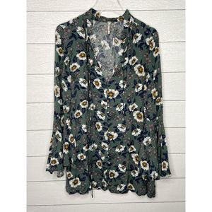 Free People Green Floral Tunic Minidress Sz Small